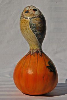 Hand Painted Barn Owl on Pumpkin Gourd on Etsy, $50.00