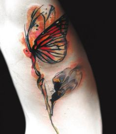 Beautiful butterfly tattoo by Ondrash #InkedMagazine #inked #tattoo #butterfly #butterflies #art #watercolor #tattoos