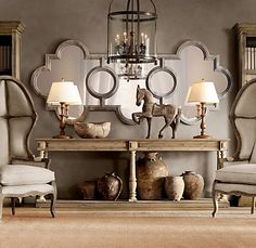 fabulous console display - restoration hardware