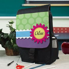 Personalized Flower and Dots Backpack