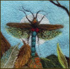 felted projects. beautiful dragon fli, dragonfli, felt project, textile artists