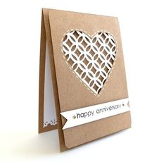 #papercraft #card - Kraft Anniversary Card - 'Happy Anniversary'  Paper Lace Handmade Greeting Card. $5.00, via Etsy.