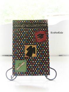 Handmade Congratulations Graduation Card Gap Gown by KraftieKidz, $3.50