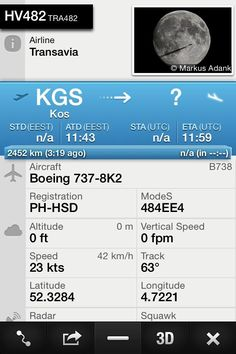 Our flight from Rhodes to Ams