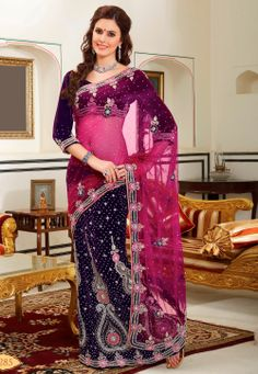 Pink and Purple Net Lehenga Style Saree with Blouse @ $315.34