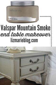 Mountain smoke end table makeover a gorgeous neutral living room - lizmarieblog.com Valspar mountain smoke is the PERFECT gray!