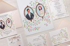 Pastel Rococo Vineyard Custom Wedding Invitation