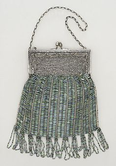 Silver and cut-steel beaded handbag, American, ca. 1920.