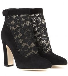 Dolce & Gabbana Vally suede and lace ankle boots