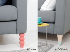 swap out boring sofa legs for fun ones