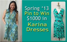 Enter to win $1000 worth of dresses from Karina Dresses. Must Repin this image to win & click through the picture to the entry form