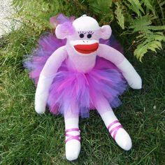 Handmade Pink Sock Monkey Doll Red Heeled Purple by MarysMonkeys,