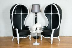 black & white balloon chair