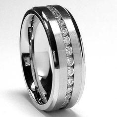 7MM Men's Eternity Titanium Ring Wedding Band with CZ sizes 7 to 12