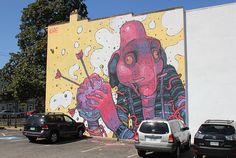 More Aryz from Richmond, Virginia –closeup details @ http://www.juxtapoz.com/Street-Art/more-aryz-from-richmond-va –Street Art, Public Art, Aryz, Elephant, Hamburger