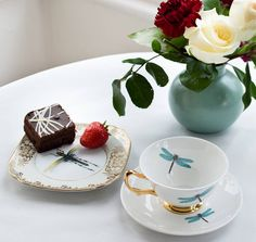 dragonflies teacup and saucer by melody rose | notonthehighstreet.com