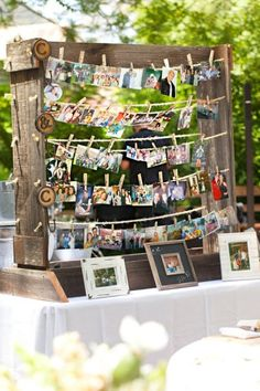 Pictures of the bride , groom throughout the years.