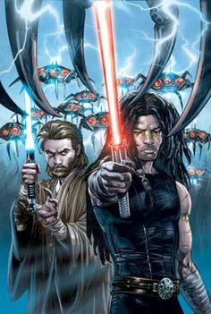 Obi-Wan Kenobi and Quinlan Vos by Jan Duursema and Brad Anderson geek, book art, star war, starwar, obiwan kenobi, comic book, war quinlan, quinlan vos, kenobi quinlan