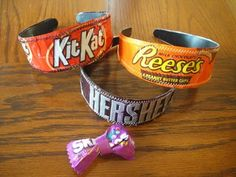 Candy wrapper headbands... so cute! (Good timing, buy the candy on clearance after H, make these for Christmas presents!)