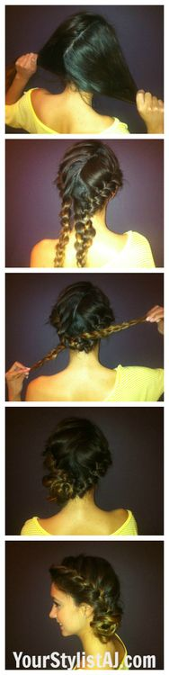 Time for a hair tutorial! Lets get right into it! Begin by sectioning your hair into two sections French braid each side Tie braids in a knot Tuck ends of the braids beneath the knot and secure with a bobby pin