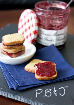 Peanut butter and jelly sandwich cookies.