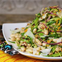 Shaved asparagus + white bean salad. Beans are the perfect combo of energy-revving carbs and energy-stabilizing and satisfying protein.  Add asparagus  = delish!