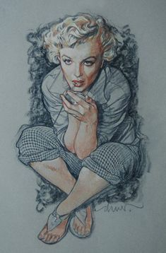 """""""Marilyn Blue"""" - Drew Struzan, colored pencils and pastels on colored paper, 2010 {contemporary figurative artist beautiful blonde female celebrity actress seated woman monroe cropped drawing} #loveit"""