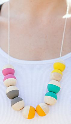 DIY painted wood bead necklace.