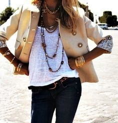 Love the jacket, and chunky jewelry.