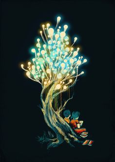 Once upon a time, lightbulbs were grown on trees. And shiny kids with bright eyes sat by them and read the life of each others diaries...