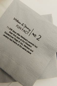 """Fun Fact"" Wedding/engagement cocktail napkins....What a cute idea!!"