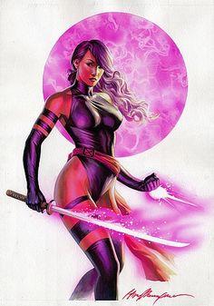 "Elizabeth ""Betsy"" Braddock -Code Name-Psylocke. Mutant Abilities: Precognition, Telepathy,Telekinesis, Psychic katana, Psychic knife.  Highly skilled martial artist"