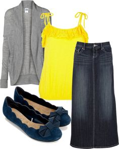 """""""yellow grey and blue mix"""" by fiddlegrass-ashley ❤ liked on Polyvore"""