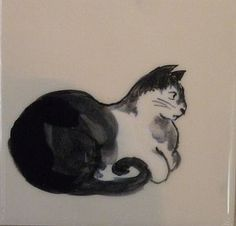 black and white cat tile