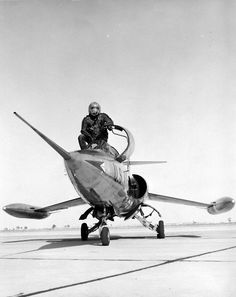 Front view of XF-104 with Lockheed test pilot Tony LeVier. (U.S. Air Force photo) via: nationalmuseum.af.mil
