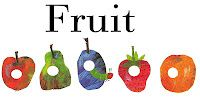 Free Printable The Very Hungry Caterpillar, all the fruit in a row