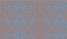 Harem Print  Orange on Blue