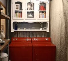 Repurpose an old hutch for upper cabinet storage for a laundry room