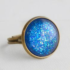 Blue Lagoon Ring in Antique Bronze  Blue by EnchantdLookingGlass, $11.20