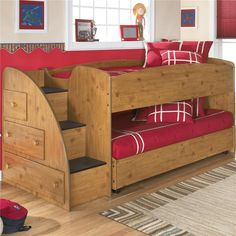Stages Twin Loft Bed with Caster Bed and Left Storage Steps by Signature Design by Ashley - Knoxville Wholesale Furniture - Loft Bed Knoxville, Tennesee