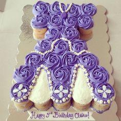 Sofia the first cupcake cake. Sofia the first birthday cake. Sofia the first cake idea.  Www.thesweetestbaker.com