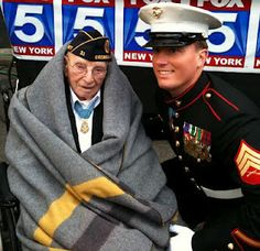 Veterans Day parade NYC 2011: Youngest Medal of Honor recipient (U.S. Marine Corps Sgt. Dakota Meyer) meets oldest living recipient (94-year-old Nicholas Oresko)