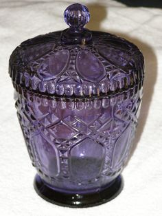 Vintage Purple Biscuit Jar Candy Jar 2pc Diamond and by parkie2, $24.75