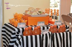 basketball themed table decorations | ... for the cake table and transforms room into a basketball stadium - love the orange theme & simple black & white stripes for table cloth