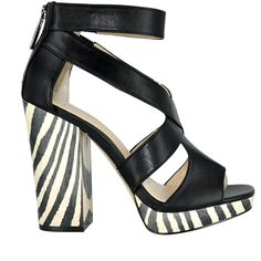 Peep toe ankle strap platforms with black and white zebra print from Calvin Klein @townshoes Find them here: http://townshoes.com/brands/calvin-klein/womens/?all=true