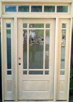 Craftsman Prairie Style 9-Lite Mahogany Entry Door w/ 5-Lite Full View Sidelights, 5-Lite Rectangular Transom