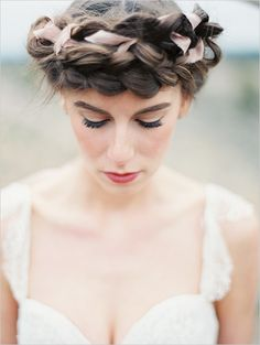 ribbon through a halo crown braid - how whimsical!