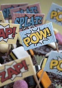 30 SUPERHERO PARTY CUPCAKE FOOD FLAGS CANAPE PICKS SUPERHERO CAKE DECORATION | eBay