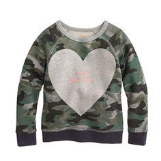 J.Crew - Girls' camo sweatshirt in big heart
