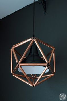 DIY Geometric Icosahedron Copper Pipe Pendant Light   The Gathered Home on Remodelaholic.com